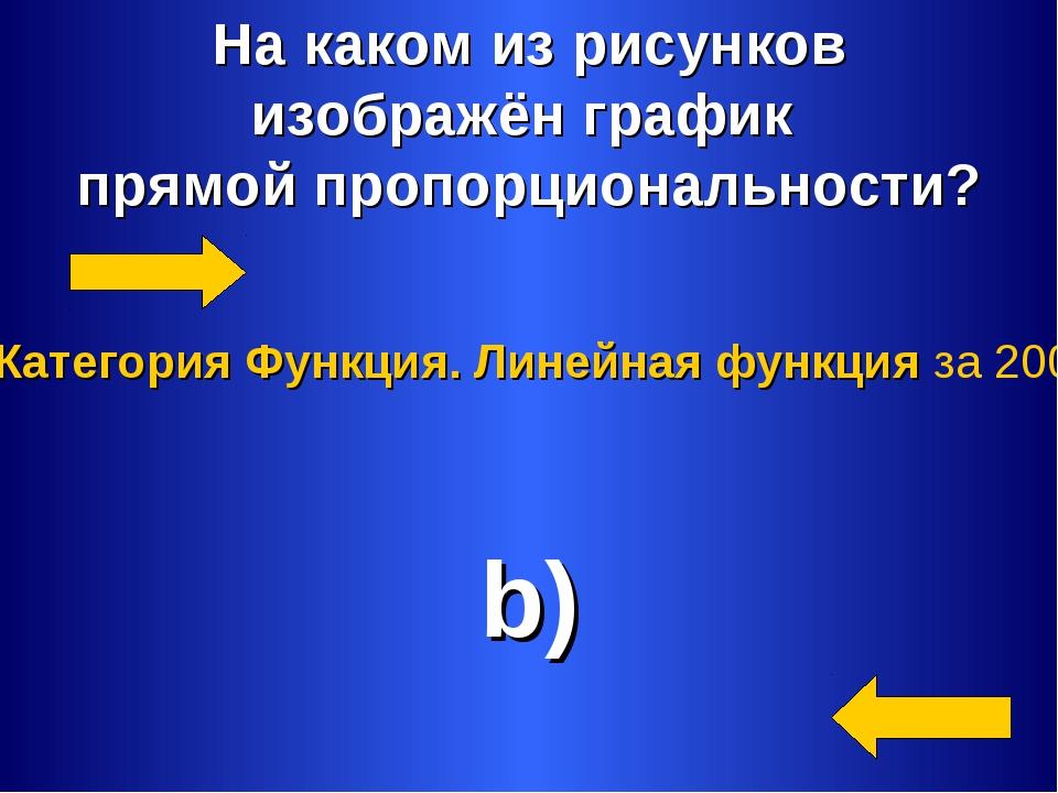 На каком из рисунков изображён график прямой пропорциональности? b) Категория...