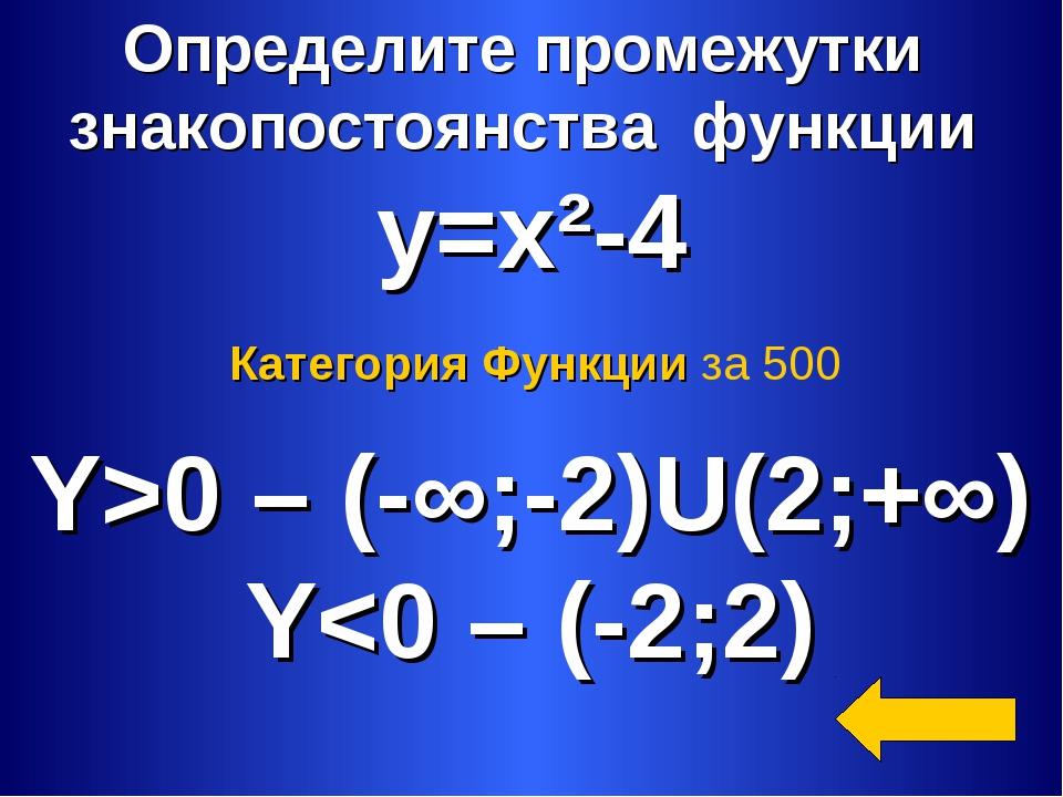 Определите промежутки знакопостоянства функции y=x²-4 Y>0 – (-∞;-2)U(2;+∞) Y