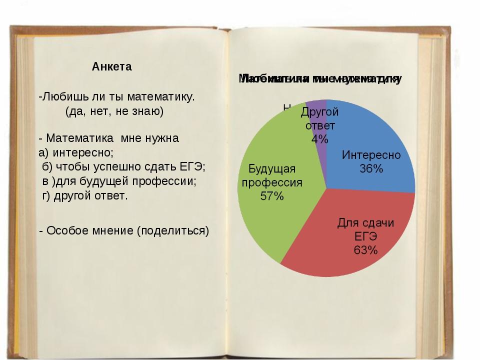 Анкета Любишь ли ты математику. (да, нет, не знаю) - Математика мне нужна а)...