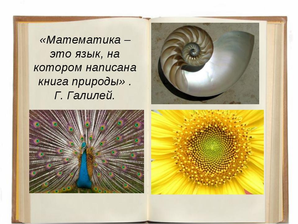«Математика – это язык, на котором написана книга природы» . Г. Галилей.