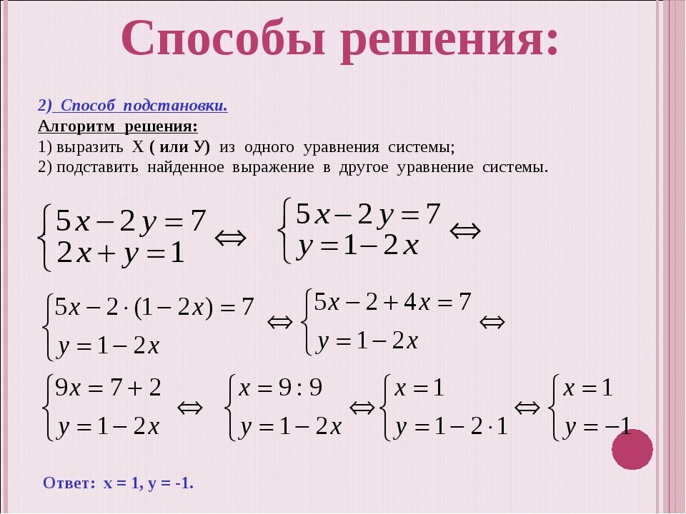 2) Способ подстановки. Алгоритм решения: 1) выразить Х ( или У) из одного ура...