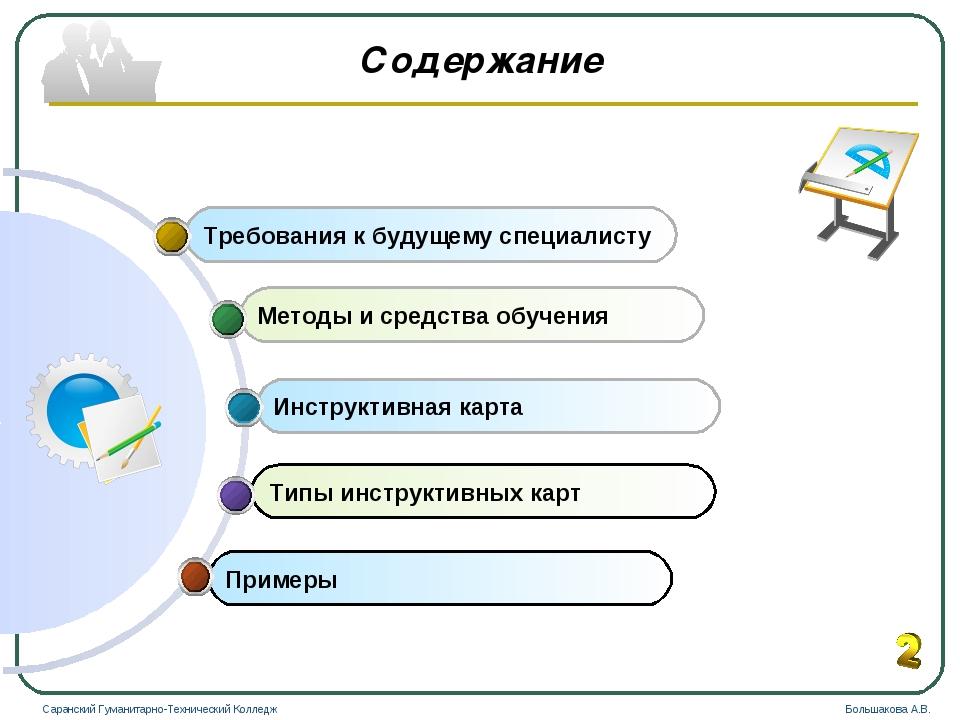 Содержание Примеры Типы инструктивных карт Инструктивная карта Методы и средс...