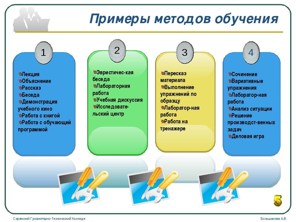 Примеры методов обучения Саранский Гуманитарно-Технический Колледж Большакова...