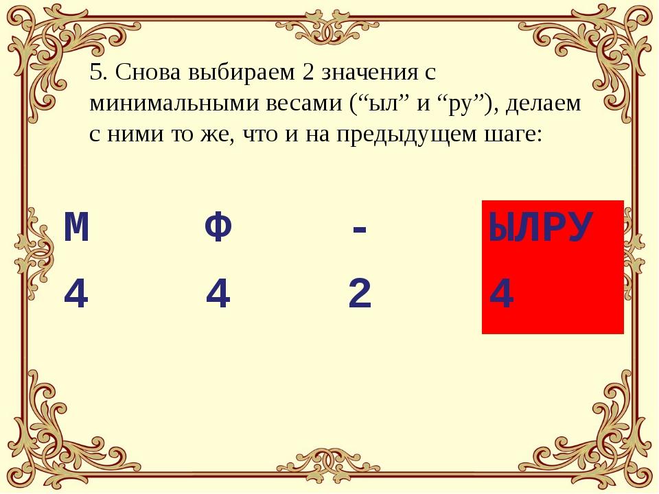 """5. Снова выбираем 2 значения с минимальными весами (""""ыл"""" и """"ру""""), делаем с ни..."""