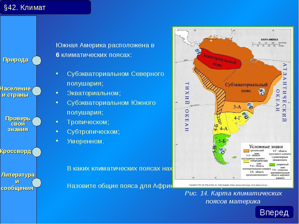 Южная Америка расположена в 6 климатических поясах: Субэкваториальном Северно...