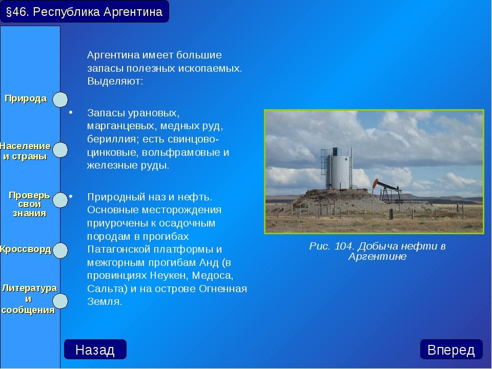 Аргентина имеет большие запасы полезных ископаемых. Выделяют: Запасы урановы...