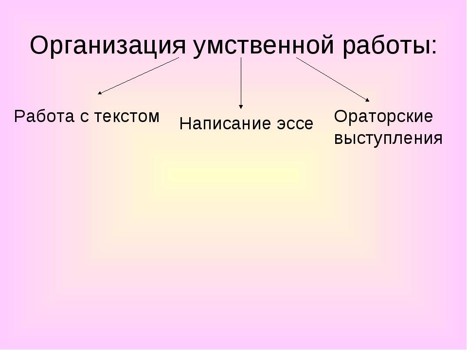 Организация умственной работы: Работа с текстом Написание эссе Ораторские выс...