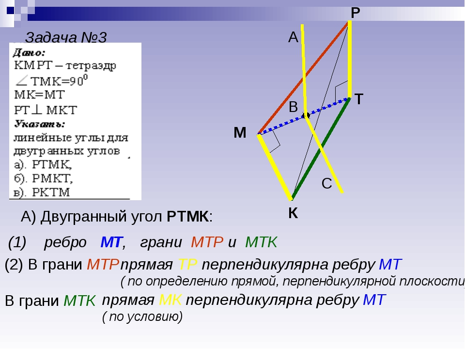 Задача №3 К М Р Т А) Двугранный угол РТМК: (1) ребро МТ, грани МТР и МТК (2)...