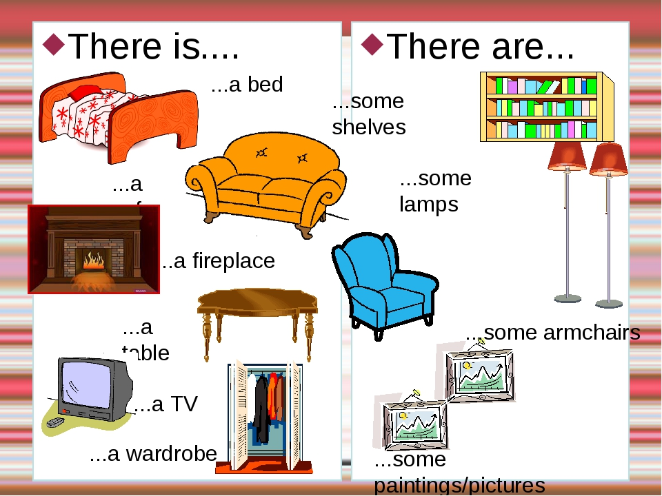 There is.... There are... ...a sofa ...a fireplace ...some lamps ...some pain...