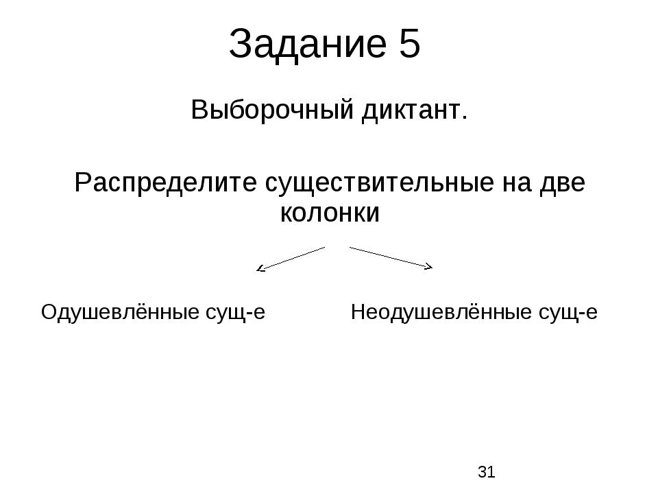 Задание 5 Выборочный диктант. Распределите существительные на две колонки Оду...