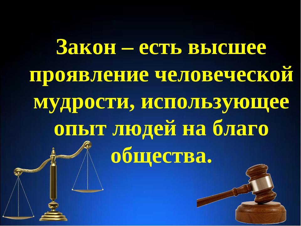 Закон – есть высшее проявление человеческой мудрости, использующее опыт людей...