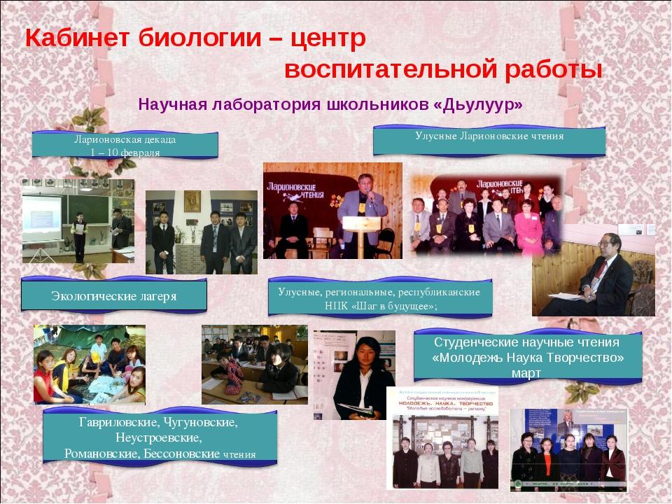 Кабинет биологии – центр воспитательной работы Научная лаборатория школьников...