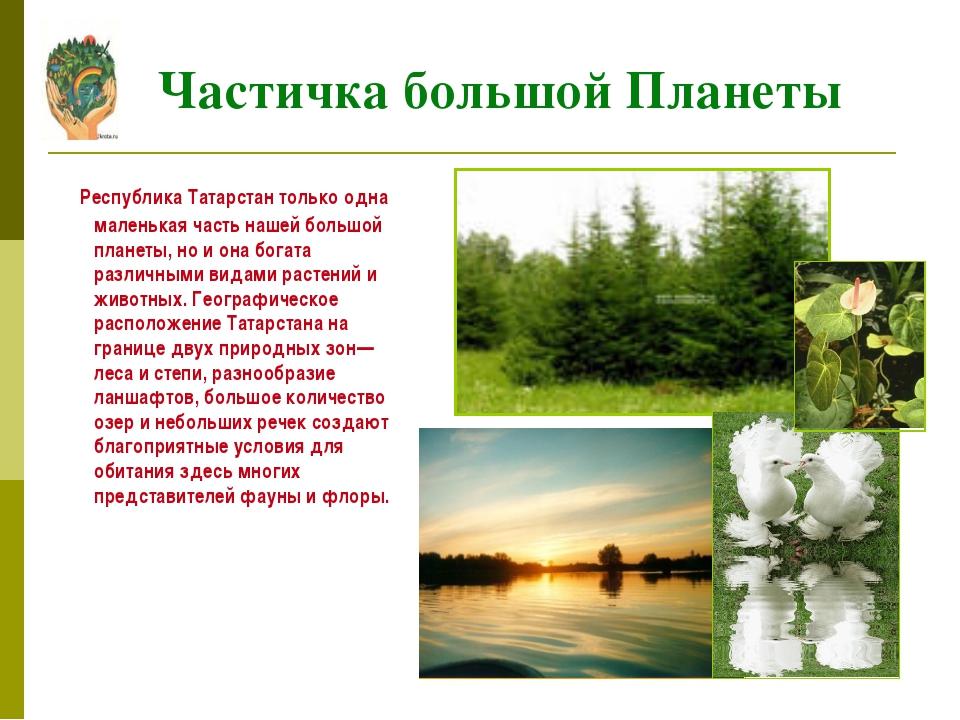 Республика Татарстан только одна маленькая часть нашей большой планеты, но и...