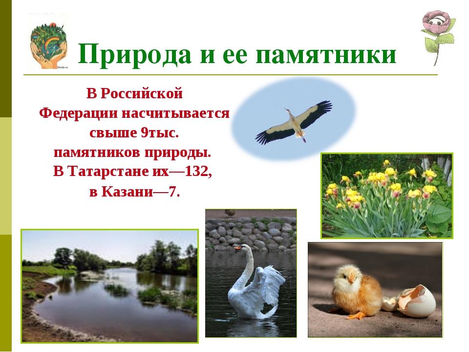 В Российской Федерации насчитывается свыше 9тыс. памятников природы. В Татарс...