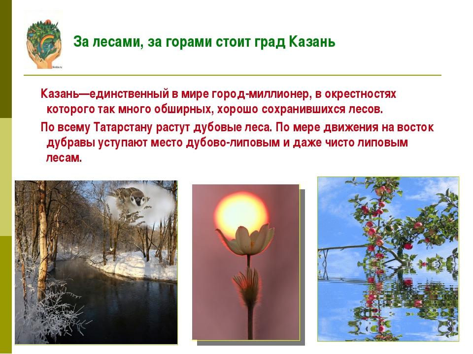 Казань—единственный в мире город-миллионер, в окрестностях которого так мног...