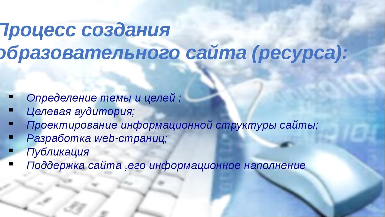 Определение темы и целей ; Целевая аудитория; Проектирование информационной...