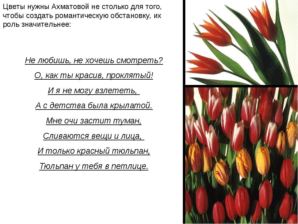 Цветы нужны Ахматовой не столько для того, чтобы создать романтическую обстан...