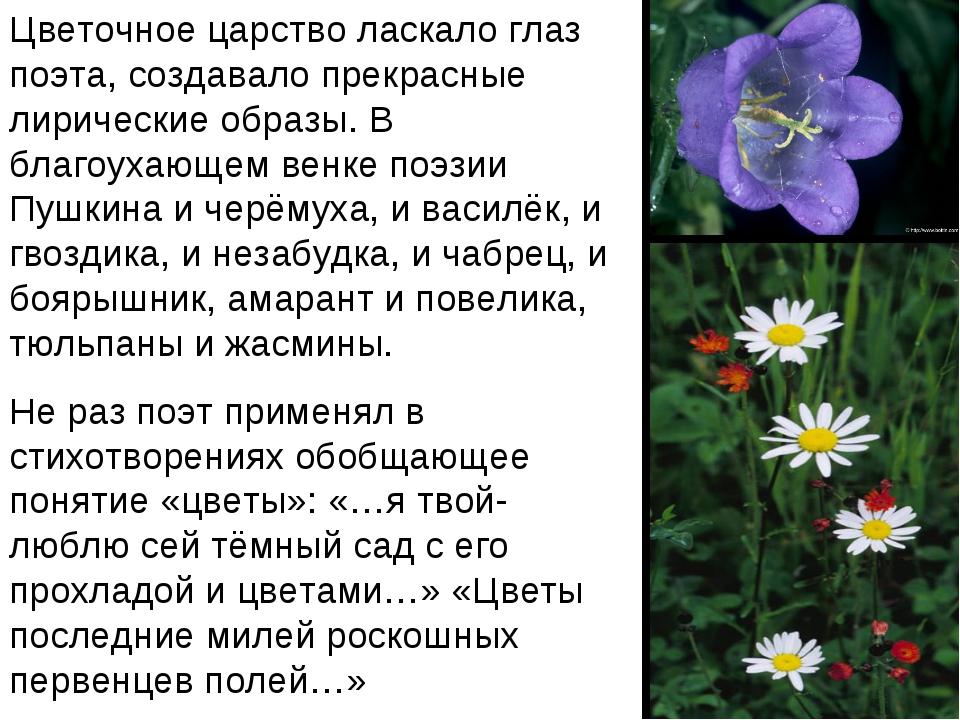 Цветочное царство ласкало глаз поэта, создавало прекрасные лирические образы....