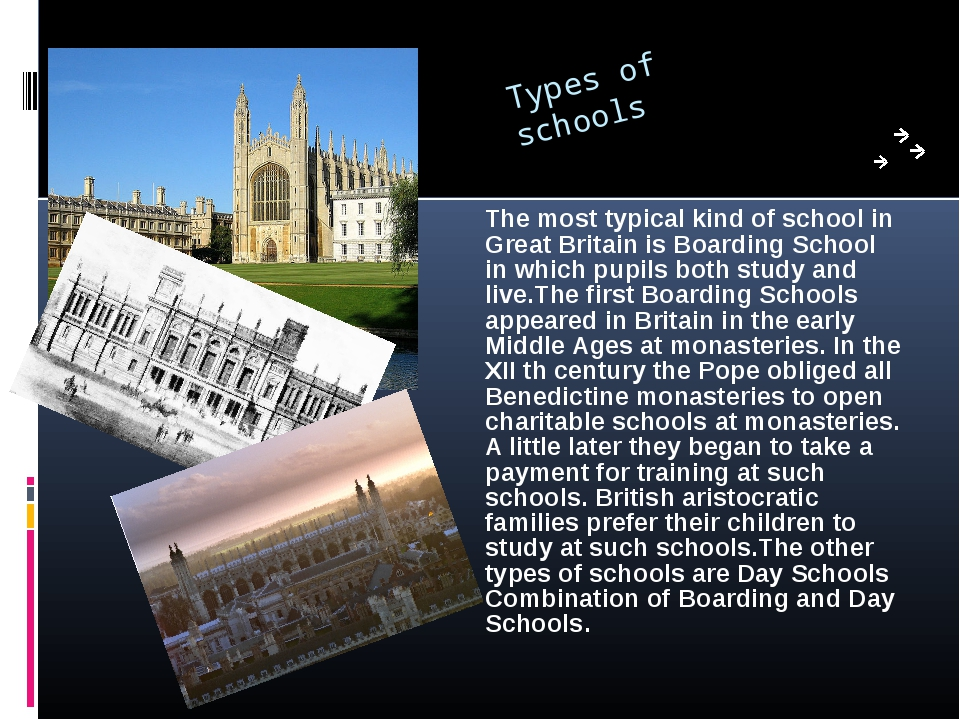 Types of schools The most typical kind of school in Great Britain is Boarding