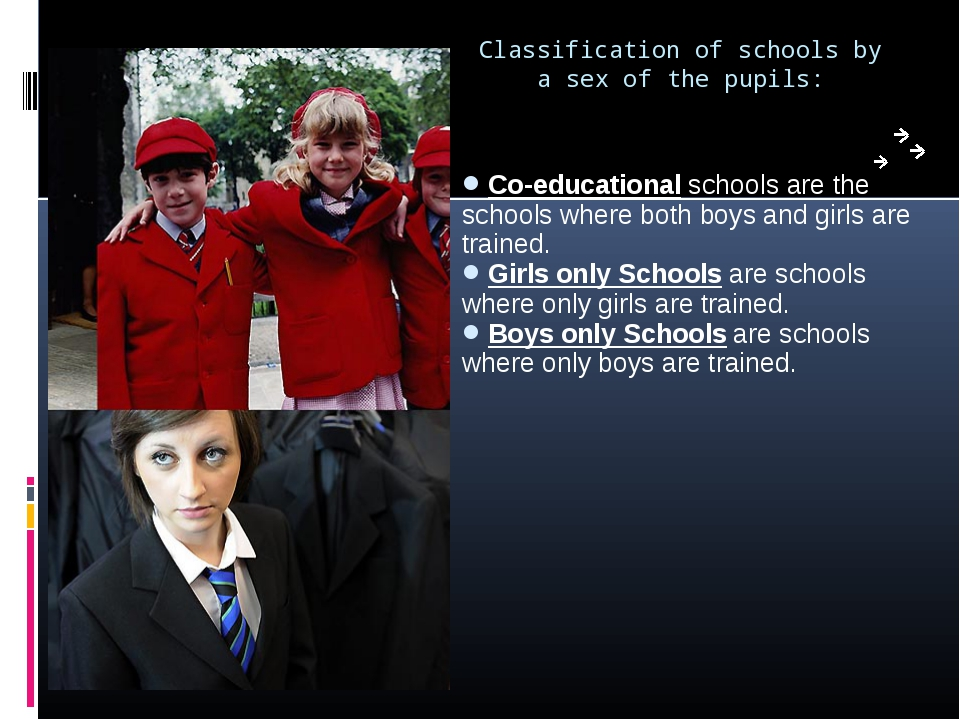 Classification of schools by a sex of the pupils: Co-educational schools are...