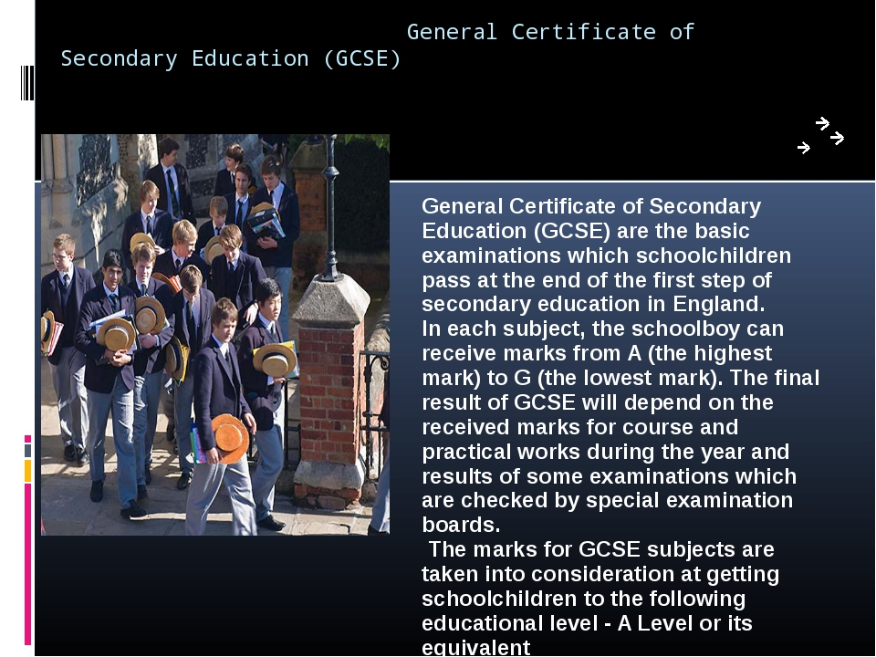 General Certificate of Secondary Education (GCSE) General Certificate of Sec