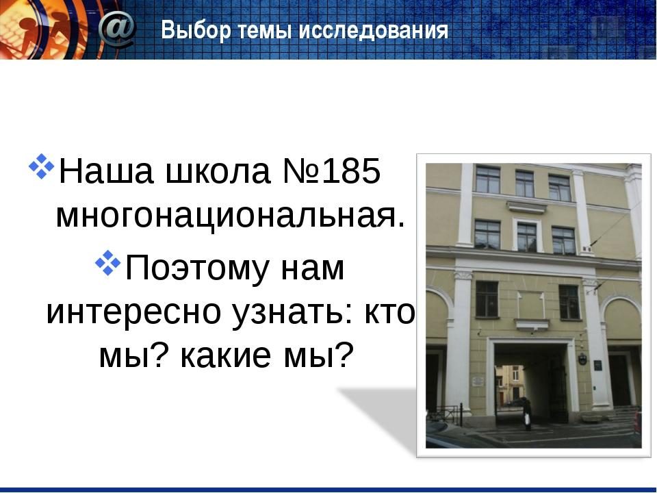 Выбор темы исследования Наша школа №185 многонациональная. Поэтому нам интере...