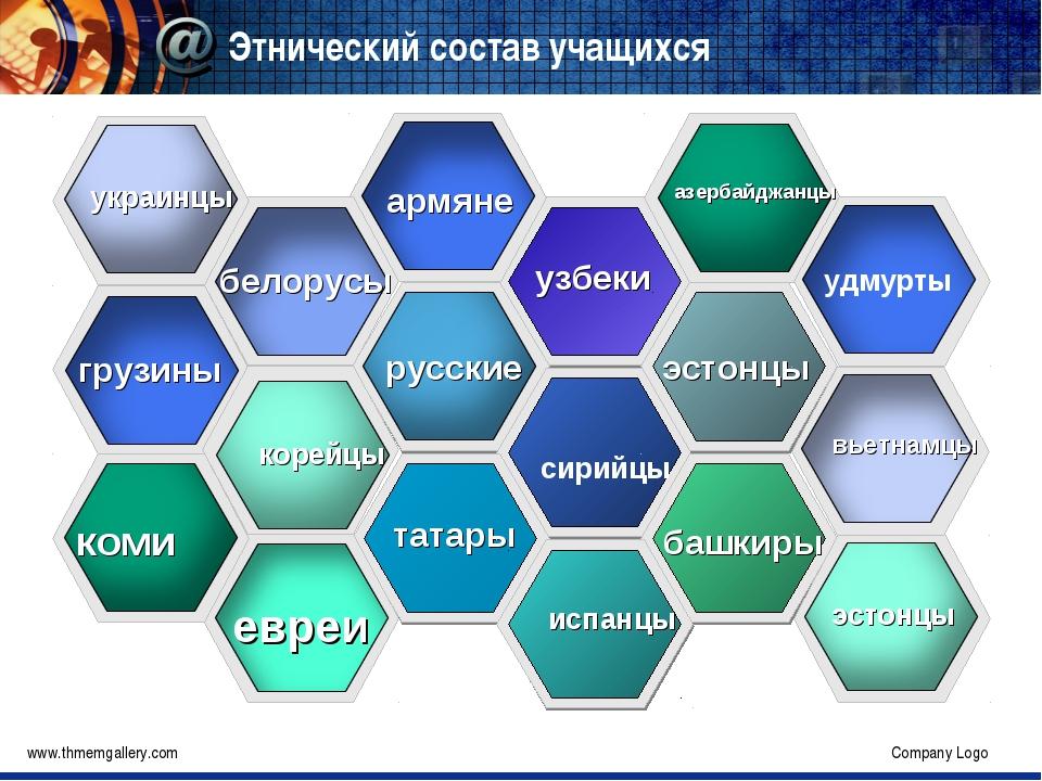 Этнический состав учащихся www.thmemgallery.com Company Logo Company Logo