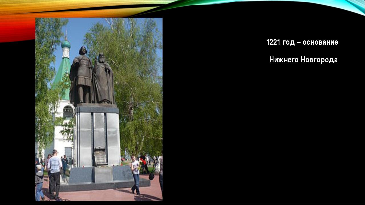 1221 год – основание Нижнего Новгорода