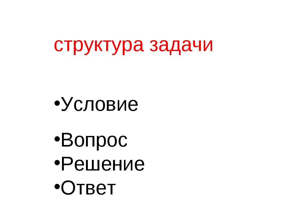 структура задачи Условие Вопрос Решение Ответ