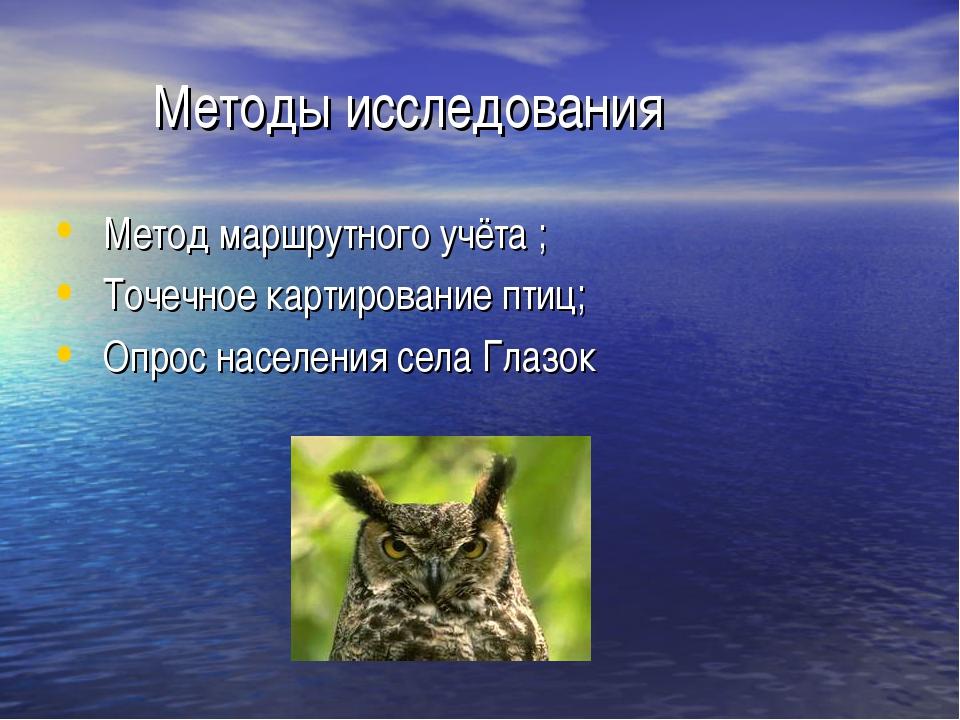 Методы исследования Метод маршрутного учёта ; Точечное картирование птиц; Оп...