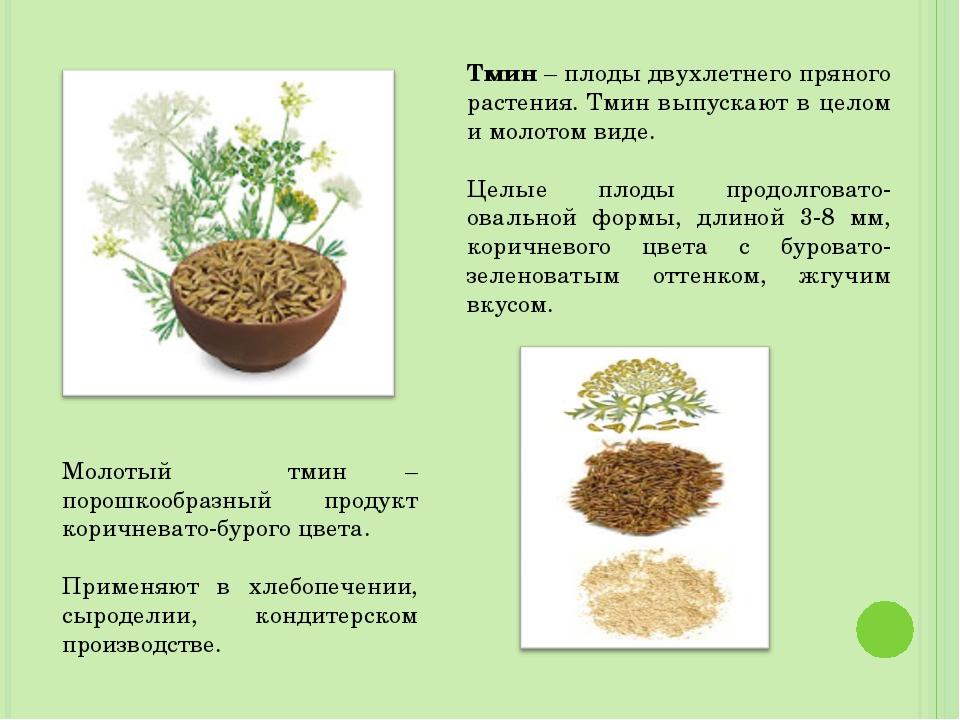 Тмин – плоды двухлетнего пряного растения. Тмин выпускают в целом и молотом в...