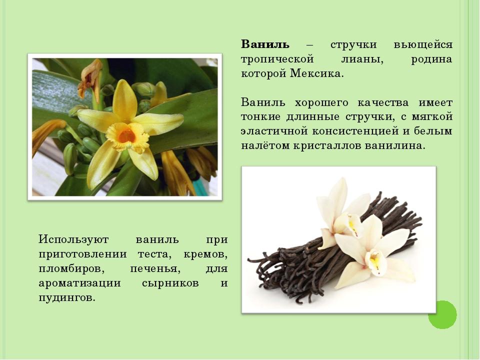 Ваниль – стручки вьющейся тропической лианы, родина которой Мексика. Ваниль х...