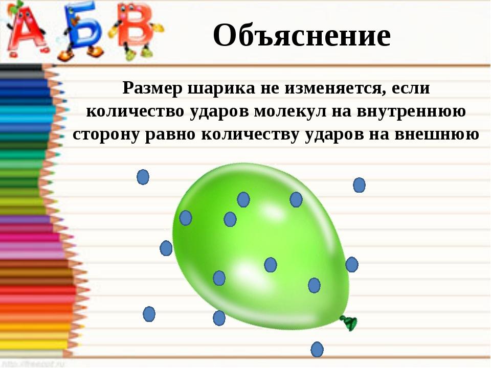 Объяснение Размер шарика не изменяется, если количество ударов молекул на вну...