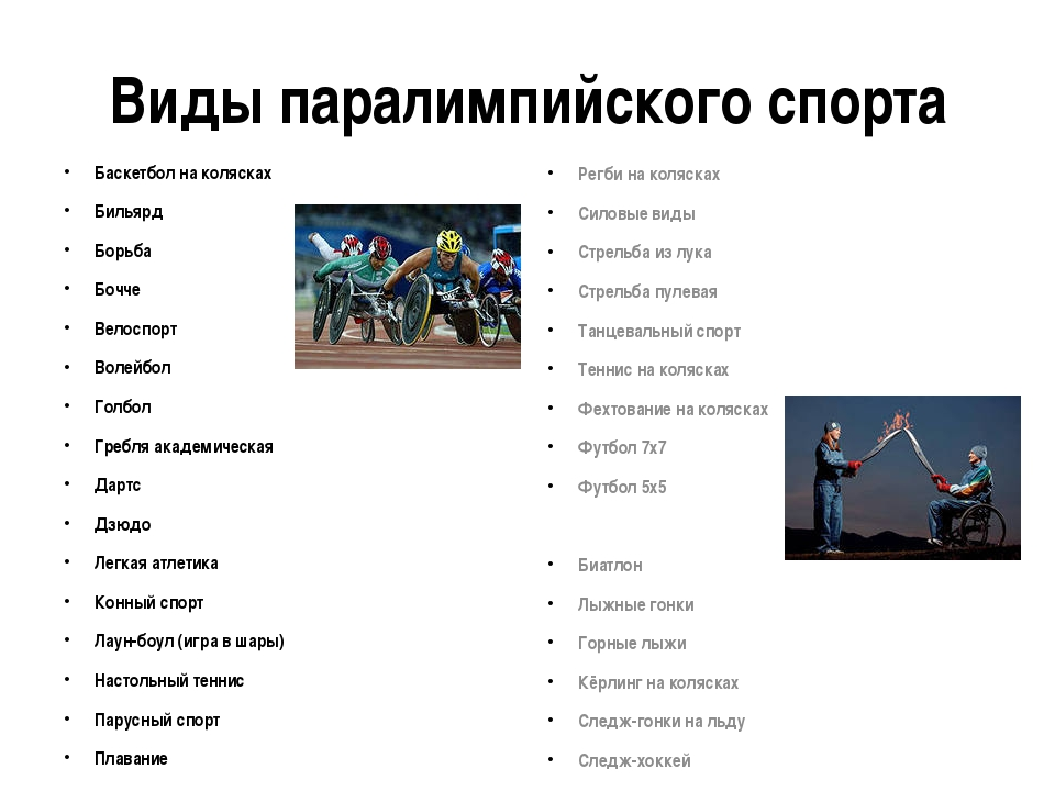Виды паралимпийского спорта Баскетбол на колясках Бильярд Борьба Бочче Велосп...