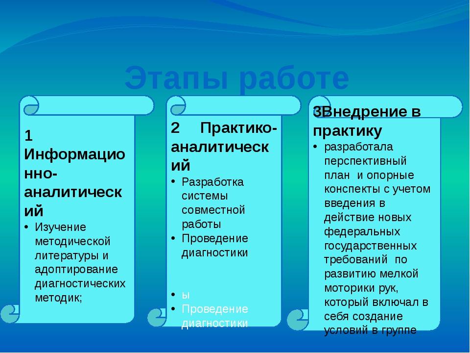 Этапы работе 1 Информационно-аналитический Изучение методической литературы и...