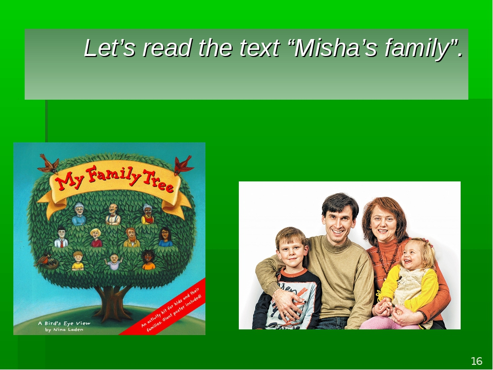 "Let's read the text ""Misha's family"". *"