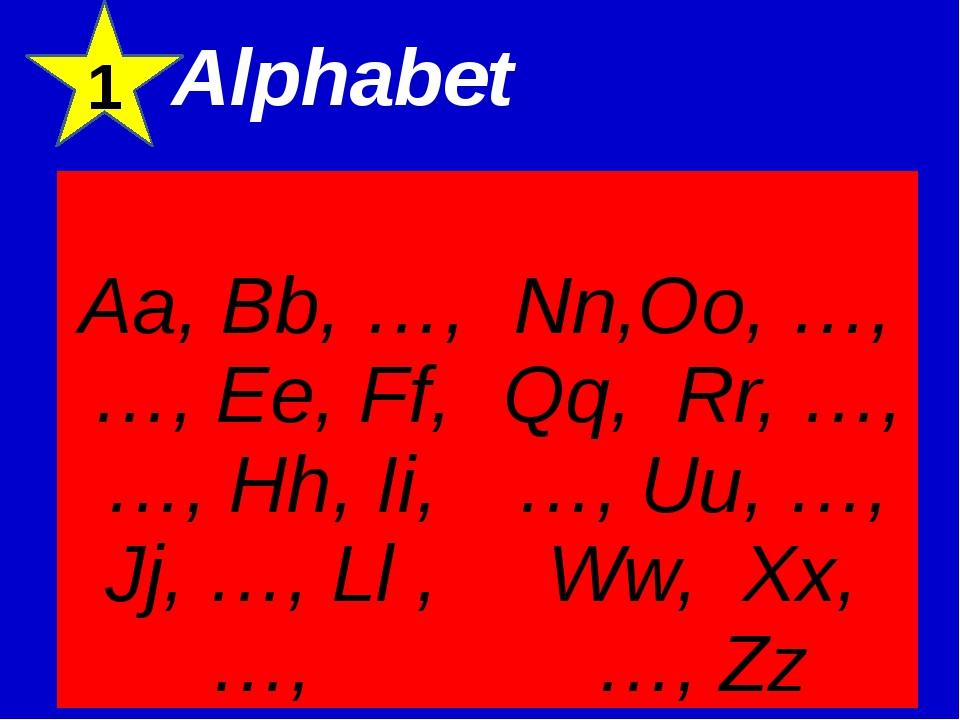 Alphabet 1 Aa, Bb, …, …, Ee, Ff, …, Hh, Ii, Jj, …,Ll, …, Nn,Oo, …, Qq,Rr, …...
