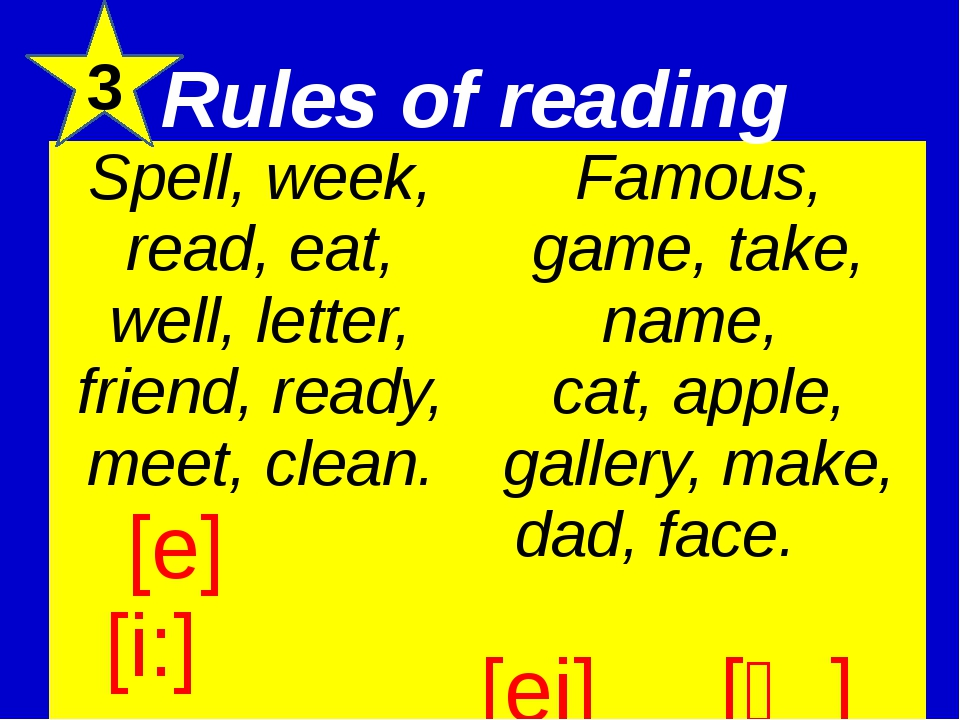 3 Rules of reading Spell, week, read, eat, well, letter, friend, ready, meet,...