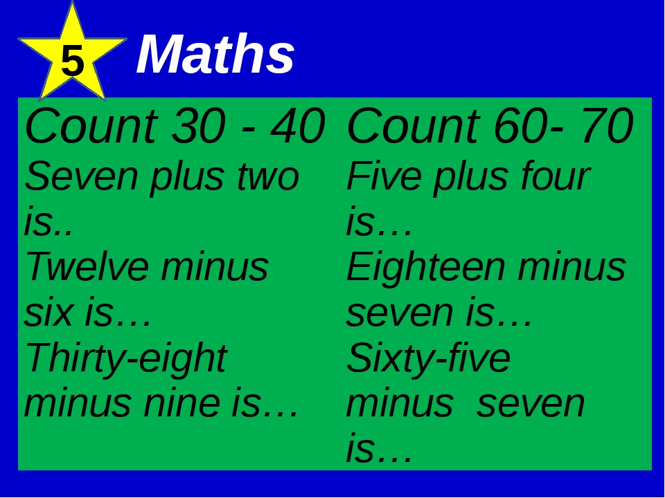 5 Maths Count 30 - 40 Seven plus twois.. Twelve minus six is… Thirty-eight mi...