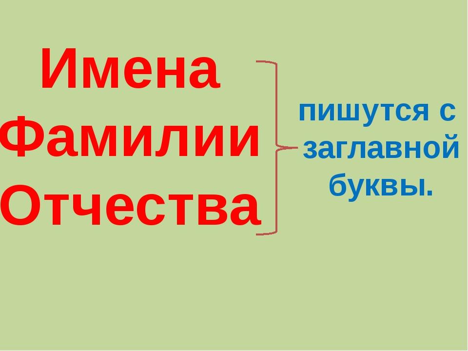 Имена Фамилии Отчества пишутся с заглавной буквы.