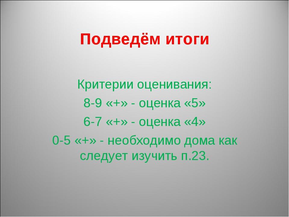 Подведём итоги Критерии оценивания: 8-9 «+» - оценка «5» 6-7 «+» - оценка «4»...