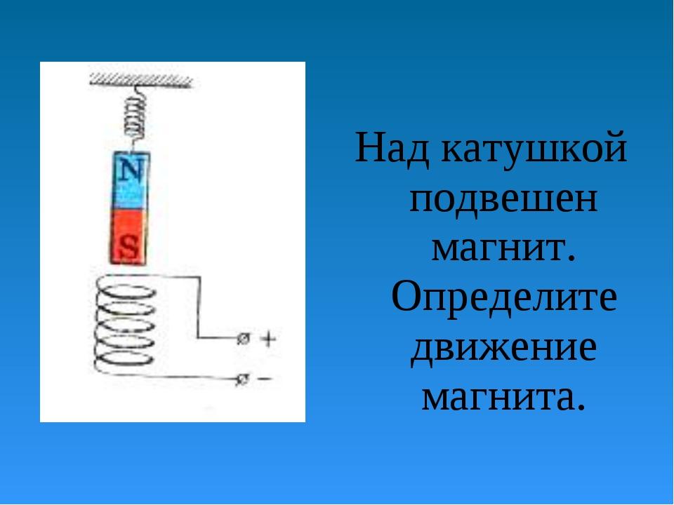 Над катушкой подвешен магнит. Определите движение магнита.