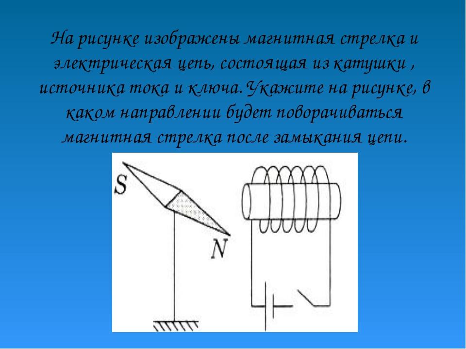 На рисунке изображены магнитная стрелка и электрическая цепь, состоящая из ка...