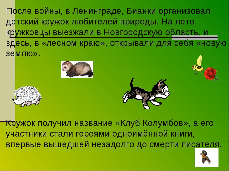 После войны, в Ленинграде, Бианки организовал детский кружок любителей природ...