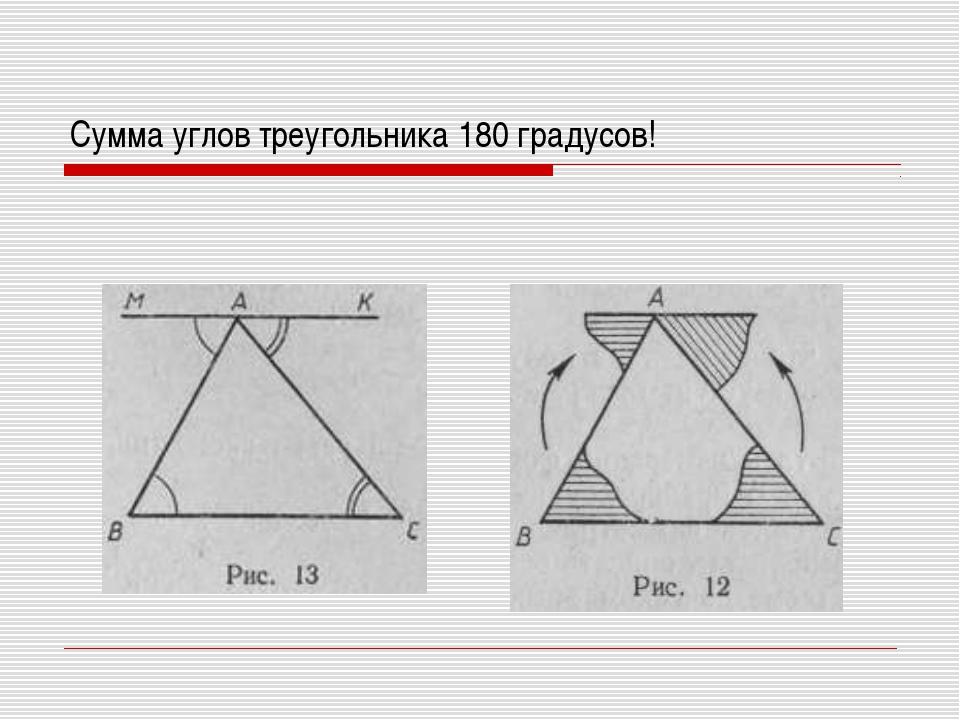 Сумма углов треугольника 180 градусов!