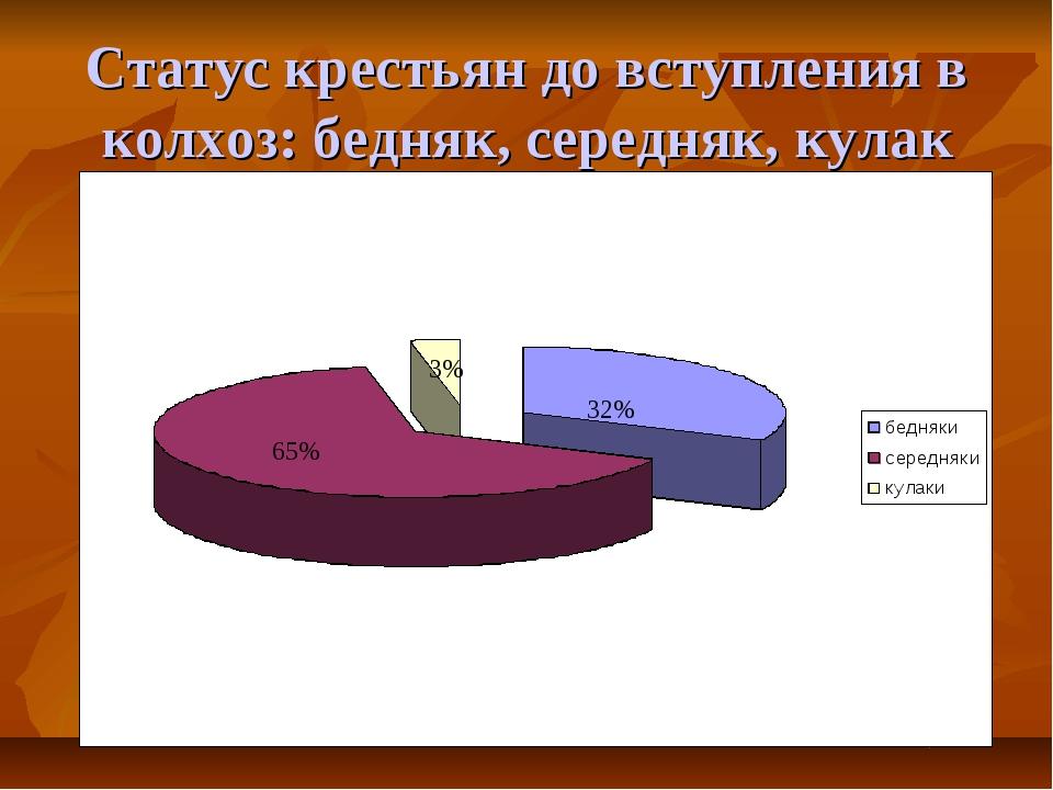 Статус крестьян до вступления в колхоз: бедняк, середняк, кулак 65% 3% 32%