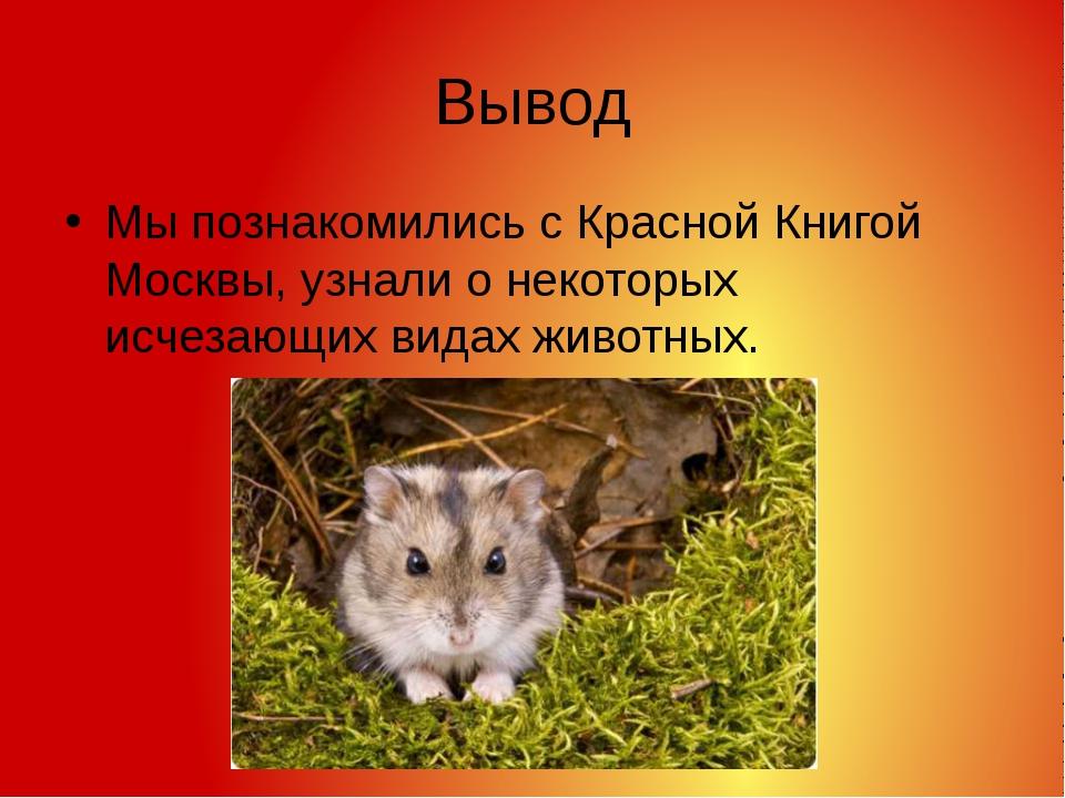 Вывод Мы познакомились с Красной Книгой Москвы, узнали о некоторых исчезающих...