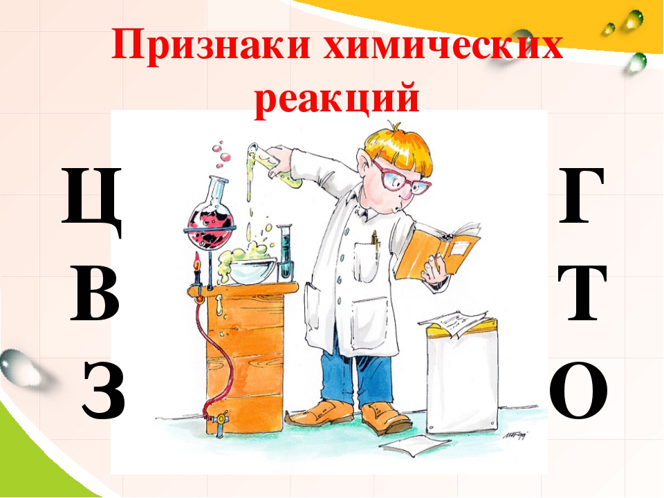 Признаки химических реакций Ц В З Г Т О