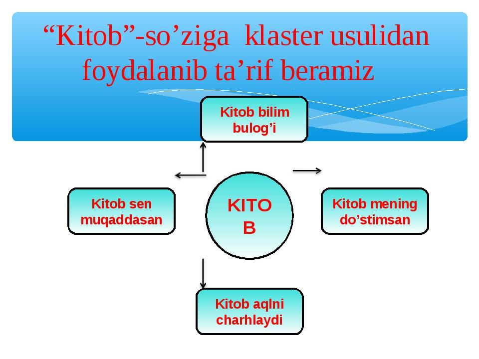 """""""Kitob""""-so'ziga klaster usulidan foydalanib ta'rif beramiz"""