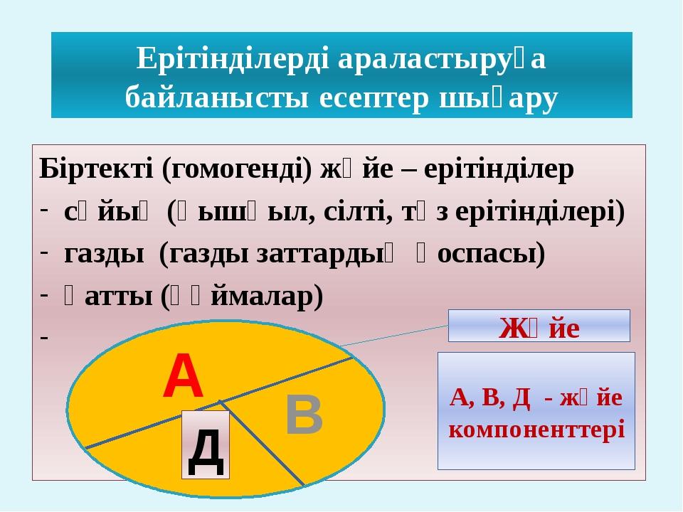 Ерітінділерді араластыруға байланысты есептер шығару Біртекті (гомогенді) жүй...